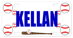 Personalized Baseball theme bike plate with balls on the side and bat on the bottom. Any name in the center.