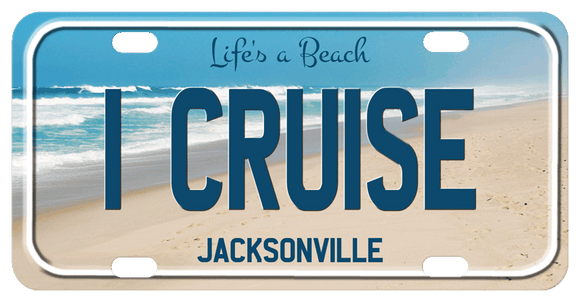 Turquoise Water and pretty waves along the shoreline with your personalization on top, center and bottom. This plate also shows a rim that gives a 3d look, however, it is a graphical illusion as the plates are completely flat