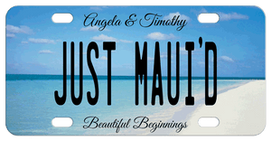 Beach scene bridal just married license plates with personalization on top, center and bottom