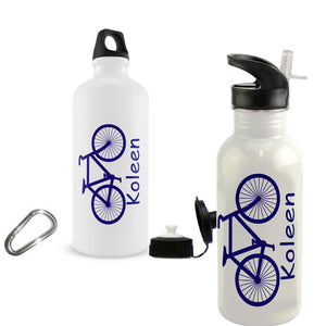 Bicycle Design Water Bottle shown on both styles of water bottles along with any name
