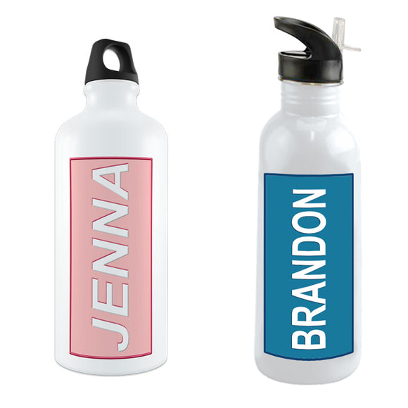 Any name printed on a custom water bottle with a colored rectangle background