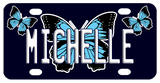 Black Background with Black, Blue and White Butterflies and any name