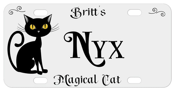 Pretty Black Cat Cartoon Illustration with any name and custom text personalized on a light grey license plate or bike plate