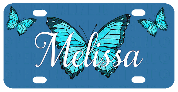 Personalized License Plate with Pretty Blue Butterfly in Center and 1 butterfly in each corner and your name