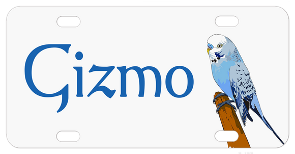 Personalized name on left and blue parakeet illustrationsitting on wood stick facing in (towards name) on right White background