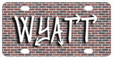 Brick Wall backdrop to any name in a street art graffiti type font or any font of your choice