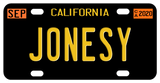 California Black Plate with Deep Yellow Text mini replica legacy 1956 plate with date tags
