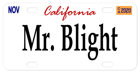 California in red script between the top two holes and any name personalized in center. We also show this plate with date tags. Add any text to the bottom if you want to make it personally yours