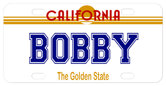 California Sun License Plate Design from 1982 on a mini replica plate with any name, font and color text