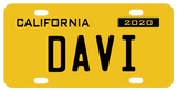 Deep yellow California License Plate, circa 1956 personalized with any name