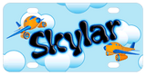 cartoon airplane flying among the clouds in a blue sky design with name in cute font