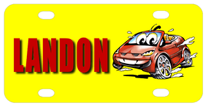Red Cartoon Car with grill and lights that look like a face.  Big Eyes are in the windshield.Background is yellow. Name is on left, car is on right of license plate