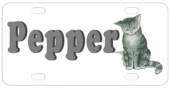 cute grey cat illustration personalized with any name on a custom license plate