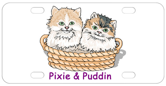 2 cats or kittens sitting in a basket with any name or custom text.