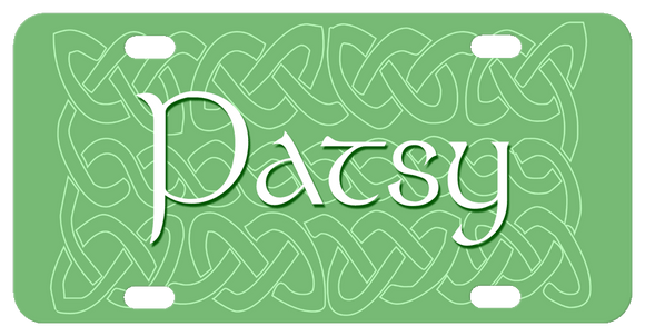 green background with light white celtic broken knot design and any name. Shown name is in a celtic style font.