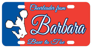 Personalized License Plates with a Cheerleader on a 2 color background and personalized with any text on top, center and bottom