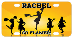 Cheerleaders in various positions on rays of golden yellow personalized with any name and custom text on choice of aluminum license plate sizes