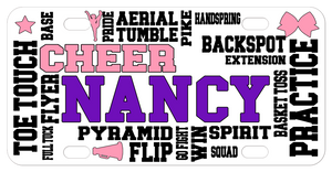 Cheerleading terms randomly placed on a custom bike plate or car tag, personalized with any name