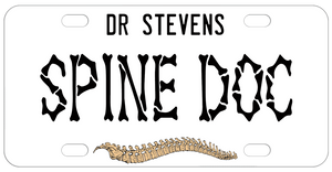 Personalized Spine Doctor License Plates with spine illustration and your text. Perfect vanity license plate for chiropractors