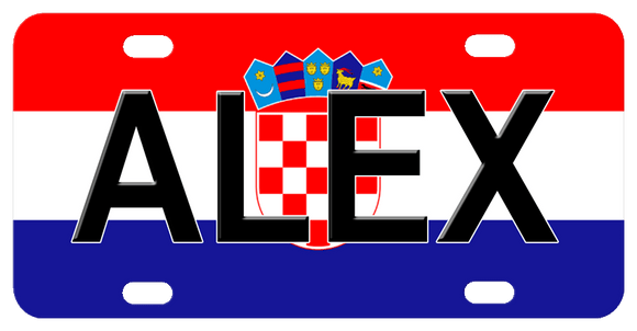 Croatian Flag of Red White and Blue Stripes with Checkered Seal and Crown of 5 pointed banners. Shown with the name Alex in black Arial Font