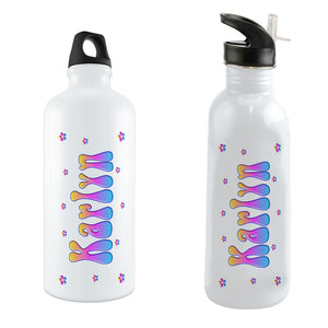 Gradient Blue Purple Pink and Yellow Daisies Kid's Design Water Bottles With Any Name