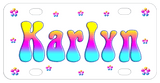 Multi Color Gradient blue pink yellow name and daisies