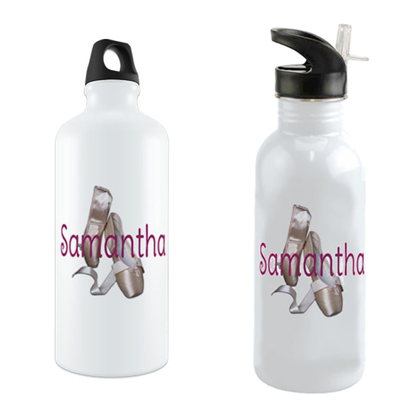 Pretty ballet toe shoes with any name printed across on a custom water bottle
