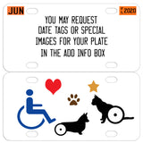 request date tags or special images like dog or cat wheel assist walkers added to your pet plate