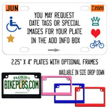 You can request date tags, handicap and alt codes symbols to your plate
