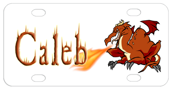 Dragon in brown tones in right spitting fire from his mouth to the name on the left. Font shown in sample also has flames coming from it as it was lit by the dragon.