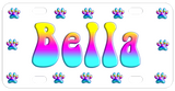 Fun Multi-Color Gradient Dog Paw border surrounds any pets name. Multi-color name on sample and can be requested as sample