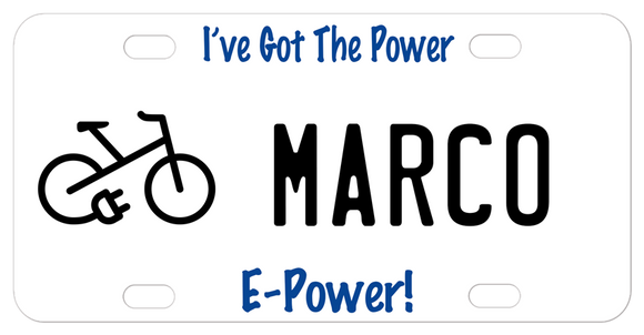 bicycle with electric plug on a license plate for e-bikes Any Personalization
