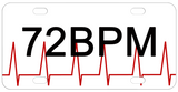 Red EKG beat line across a license plate on the bottom and personalized with any text.