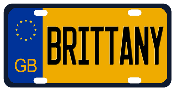 GB European style plate with stars on blue and black border with goldish yellow center and any name