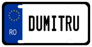 EU style Romania Plate with black rim, blue left border with stars and RO any name in center white portion
