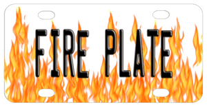 Layers fire flames rising from the bottom of the plate to almost reach the top with any name or custom text on top in the center of the plate