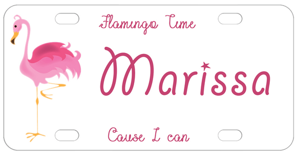 Flamingo on one foot on left and any custom text on top, center, and bottom