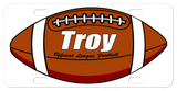 Football personalized license plates with any name or custom text.  This version of the ball has the high school, college style white lines on each end of the ball