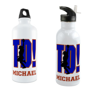 TD! with player doing the goal dance on a custom water bottle personalized with any name.