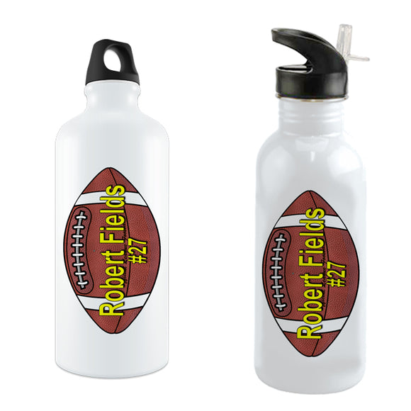 Personalized Football Theme Bike Water Bottles Choice of Alum with o ring or stainless steel with straw top