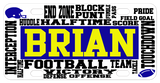 football words placed randomly on the license plate with any name personalized in center