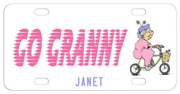 Elderly woman with grey hair on bicycle with basket on the right of the plate. Go Granny in a speeding font trailing. Any name on the bottom