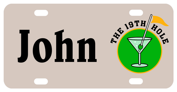License Plate with martini glass and golf flag as the stirrer with olive and the 19th hole. Any personalized name is on the left of the illustration
