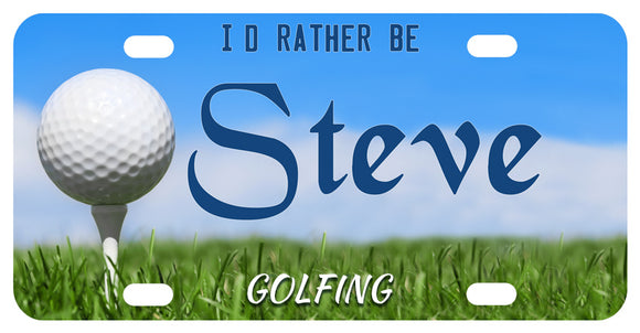 golf ball on tee on the green with a blue sky. custom license plate with any name and additional text on top and bottom