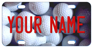 Custom bike plate with image of many golf balls as a backdrop to any name or custom text