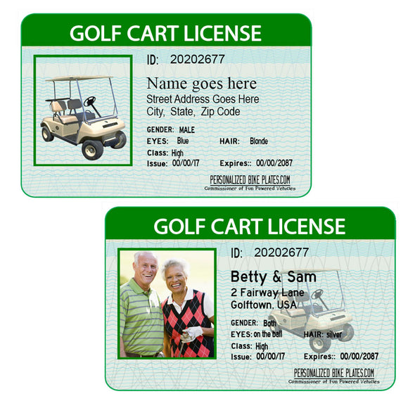 Personalized Golf Cart License with or without a photo