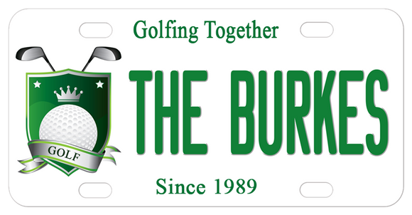 Custom golf crest with ball crown and crossed clubs along with any personalized text is perfect for your golf cart, bike, car and more.