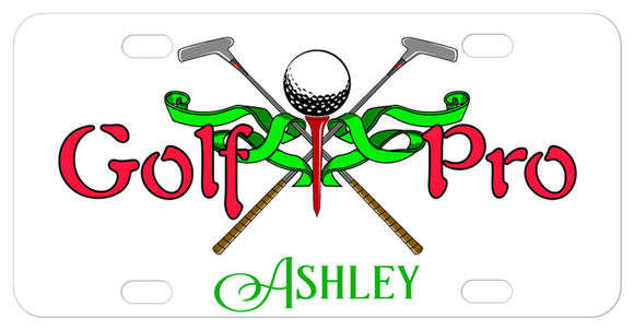 Golf Pro with tee, ball and cross clubs along with a fancy ribbon and any personalized name on the bottom