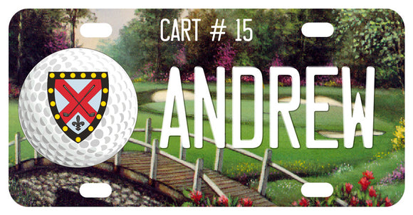 Vintage scene of golf course and stone bridge along with golf ball and your custom text.