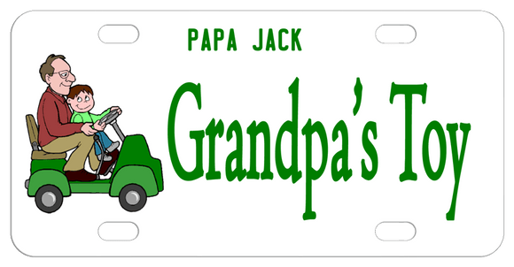 Grandfather and Grandson on a mini 1 seater golf cart. Plate says Grandpa's Top but you can personalize with whatever you like